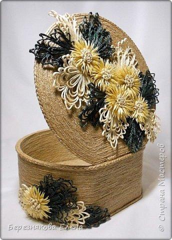 """И снова мой вам привет))Продолжаю свою серию больших """"цветочных"""" шкатулок.На повестке дня хризантемы из шпагата. фото 2"""