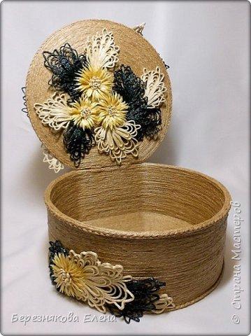 """И снова мой вам привет))Продолжаю свою серию больших """"цветочных"""" шкатулок.На повестке дня хризантемы из шпагата. фото 3"""