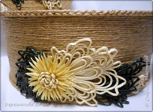 """И снова мой вам привет))Продолжаю свою серию больших """"цветочных"""" шкатулок.На повестке дня хризантемы из шпагата. фото 6"""