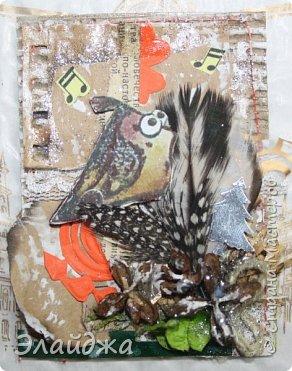 """Привет Всем! Новый год полным ходом идет по Стране Мастеров, вот и у меня  сложились такие   АТСки  серия """"Птички""""  тема """"В ожидании зимы"""". У многих  уже снег за окном, а мы его еще ожидаем. Вот такие милые пучеглазики высматривают приближение зимы.  Карточки сделаны  из остатков разных бумажек, газет, картона, разные перышки,кружево,  веточки, сухоцветы, маленькие шишечки от туи. (Это девочки я стол убирала перед покрытием лаком своих игрушек ватных. Вот насобирала материалов ... аж на новую серию....Мой Хомяк не позволяет выбросить в мусор  остатки ..все в дело! А цветочек зеленый нашла всего один...разпотрошила его и  все-всем карточкам хватило! фото 10"""