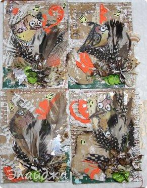 """Привет Всем! Новый год полным ходом идет по Стране Мастеров, вот и у меня  сложились такие   АТСки  серия """"Птички""""  тема """"В ожидании зимы"""". У многих  уже снег за окном, а мы его еще ожидаем. Вот такие милые пучеглазики высматривают приближение зимы.  Карточки сделаны  из остатков разных бумажек, газет, картона, разные перышки,кружево,  веточки, сухоцветы, маленькие шишечки от туи. (Это девочки я стол убирала перед покрытием лаком своих игрушек ватных. Вот насобирала материалов ... аж на новую серию....Мой Хомяк не позволяет выбросить в мусор  остатки ..все в дело! А цветочек зеленый нашла всего один...разпотрошила его и  все-всем карточкам хватило! фото 1"""