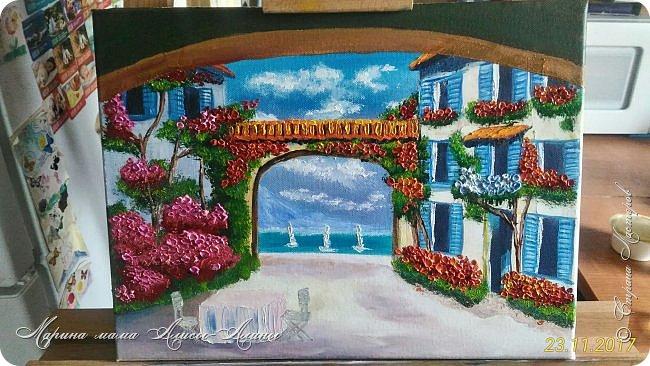 Цветущий дворик. масло,холст Картинку подсмотрела у своей любимой художницы-Натальи Ширяевой. И очень захотелось повторить.Тем более-КОПИРОВАНИЕ НАШЕ ВСЁ))) фото 8