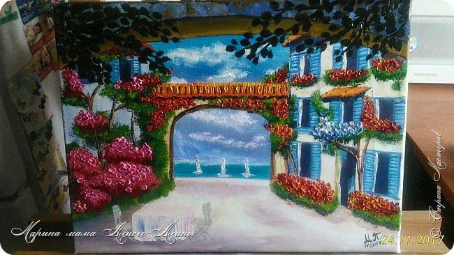 Цветущий дворик. масло,холст Картинку подсмотрела у своей любимой художницы-Натальи Ширяевой. И очень захотелось повторить.Тем более-КОПИРОВАНИЕ НАШЕ ВСЁ))) фото 1