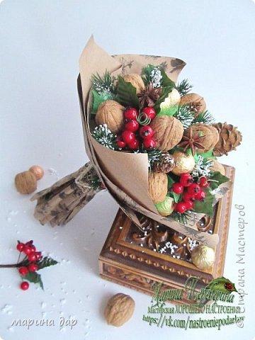 Букет из грецких орехов и конфет Коркунов.  Подготовка к Новому году фото 1