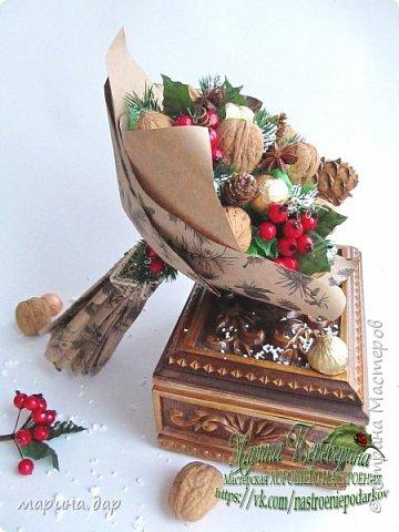 Букет из грецких орехов и конфет Коркунов.  Подготовка к Новому году фото 3