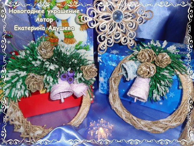 Здравствуйте все кто заглянул на маю страничку ну вот готова еще одна моя работа, Рождественский венок из джута. фото 3