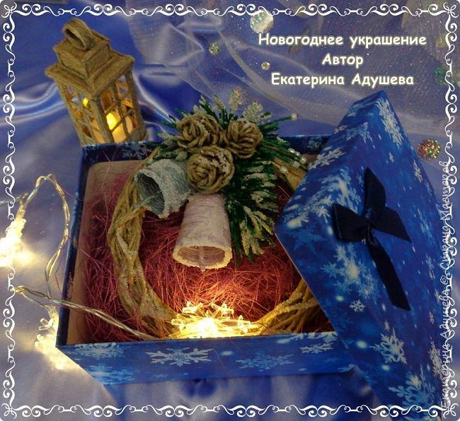 Здравствуйте все кто заглянул на маю страничку ну вот готова еще одна моя работа, Рождественский венок из джута. фото 2