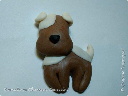 Скоро Новый год...Почему бы не исполнить детскую мечту - завести милого щенка!  Для этого нам понадобиться: - полимерная глина четырех цветов:коричневый, белый, черный и синий; - нож, салфетки влажные. фото 10