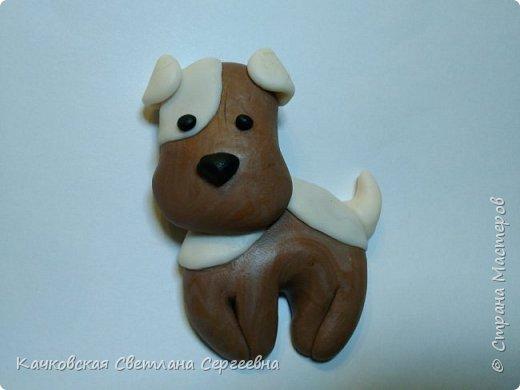 Скоро Новый год...Почему бы не исполнить детскую мечту - завести милого щенка!  Для этого нам понадобиться: - полимерная глина четырех цветов:коричневый, белый, черный и синий; - нож, салфетки влажные. фото 11
