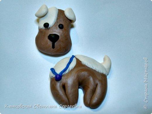 Скоро Новый год...Почему бы не исполнить детскую мечту - завести милого щенка!  Для этого нам понадобиться: - полимерная глина четырех цветов:коричневый, белый, черный и синий; - нож, салфетки влажные. фото 12