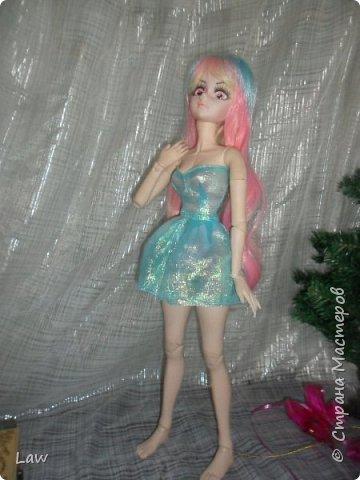 сшила платье для моей Мими) ткань с моего места учебы. обрезки. на платье хватило и немного осталось)  фото 3