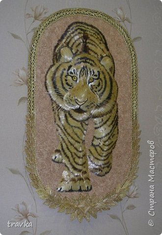 Друзья мои, вот такого большинького тигра смастерила 1м. 10см. х 60см. Работа имеет небольшой объём.Большие работы делать понравилось... Больше детальной проработки. фото 2