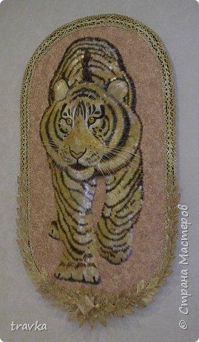 Друзья мои, вот такого большинького тигра смастерила 1м. 10см. х 60см. Работа имеет небольшой объём.Большие работы делать понравилось... Больше детальной проработки. фото 3