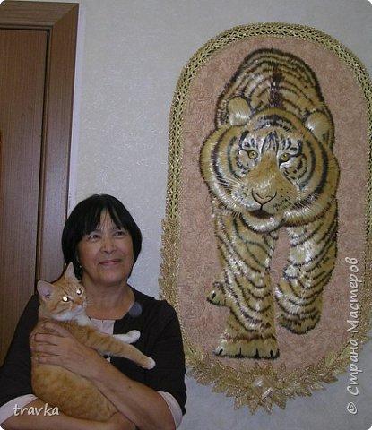 Друзья мои, вот такого большинького тигра смастерила 1м. 10см. х 60см. Работа имеет небольшой объём.Большие работы делать понравилось... Больше детальной проработки. фото 4