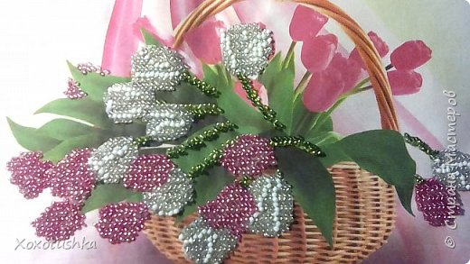 тюльпаны в корзине, частичная вышивка