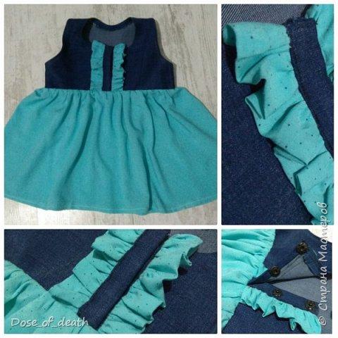 Ткань, голубую, дала мама крестницы. На пошив любого платья, сарафанчика или чего-нибудь, что получится.  фото 7
