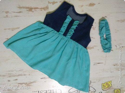 Ткань, голубую, дала мама крестницы. На пошив любого платья, сарафанчика или чего-нибудь, что получится.  фото 8