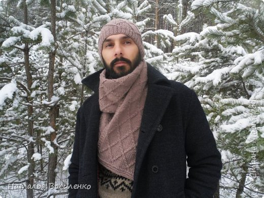 Шапка и шарф с узором из ромбов  фото 1