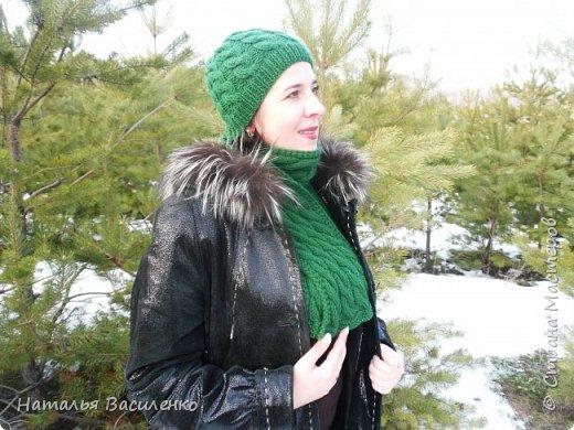 Мастер-класс по вязанию шапки и шарфа с узором «Косы» фото 1