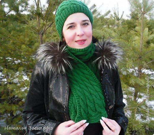 Мастер-класс по вязанию шапки и шарфа с узором «Косы» фото 2