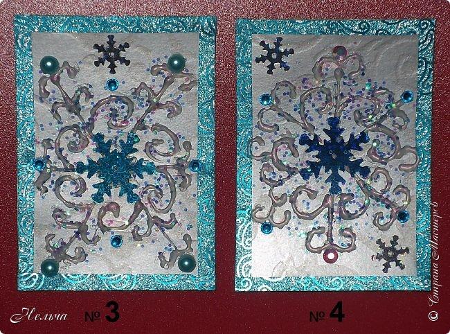 """У меня сегодня серия из 4 - х карточек """" Снежинка"""". Снова мои эксперименты с клеем. Клей сверху подкрасила перламутром. Карточки в реале лучше смотрятся, чем на фото. Обещала больше не делать карточки, только после Нового года, но опять нахватала красоты!..Так что раздаю долги. Выбирают: Маша Соколовская, Светик-Светланка. Надеюсь, что карточки девочкам понравятся)). Может кому ещё должна, в записях уже неразбериха!))  фото 3"""