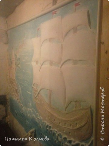 Это на стене сделано из шпатлевки и камушек ,ещё не раскрашено фото 13