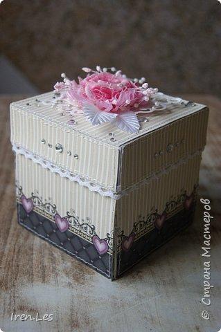 Привет, всем - всем, жителям Страны и гостям. Как и обещала, продолжаю показывать коробочки для денежного подарка на свадьбу, которые делала к августовским свадьбам. Хочу напомнить, что это вторая коробочка, будет еще одна, но чуть - чуть позже. Это общий вид коробочки. В ее изготовлении использовала бумагу двух производителей: снаружи бумага от Mr.Painter, внутри от DESIGN FLEUR. По цвету они очень подошли друг к другу. фото 12
