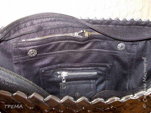 Эта сумка в той же технике-плетение из упаковки,скорее всего последняя,всего их три,для моих дочерей.Она самая большая:донышко 9 на 35,высота 23см;модулей 2096,весит 800гр фото 2