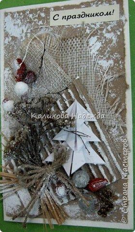 Думаю, материал для такой открытки найдется у многих. Эко-стиль в открытках - это использование природного материала (шишки, ягоды, засушенные листья, ракушки, камушки и т.п.) бросового материала (упаковочный картон, мятая газета), натуральных тканей (мешковина, лен, хлопок и т.п.) джутовые, бумажные шпагаты, элементы из дерева, коры. Цветовое решение - натуральное,неброское. Хотя можно допустить немного ярких пятен. фото 9