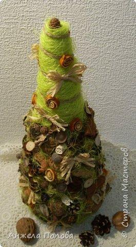 Елочка из природных материалов - несколько видов шишек, желуди, орехи, срезы дерева, корица, косточки, сизаль, рафия. Высота 35 см. Закреплена на срезе дерева. фото 3