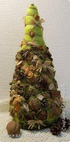 Елочка из природных материалов - несколько видов шишек, желуди, орехи, срезы дерева, корица, косточки, сизаль, рафия. Высота 35 см. Закреплена на срезе дерева. фото 1