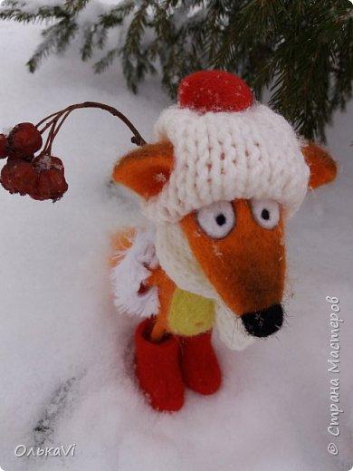Очень кстати у нас выпал свежий снежок, Лис отправился к проруби рыбачить на волчий хвост)))) фото 13