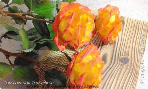 Добрый день мастера и мастерицы.Заказали мне оранжевые розы,ну а я слепила желто-оранжевые.Не нравятся мне однотонные розы.Правда реакции заказчицы еще не знаю.Как обычно с вами первыми делюсь. фото 2