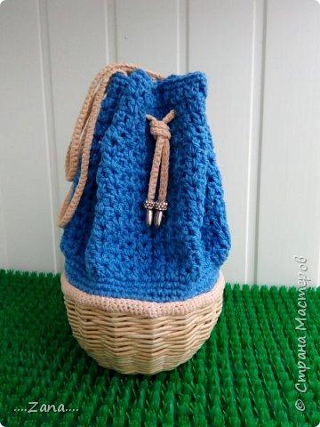 Вот такой мешочек у меня получился.Давно хотела попробовать соединить вязание и плетение. фото 1