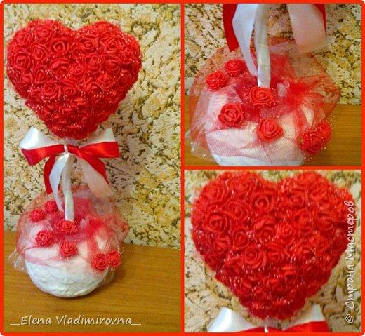 Сердце из роз. Топиарий. Подарок фото 4