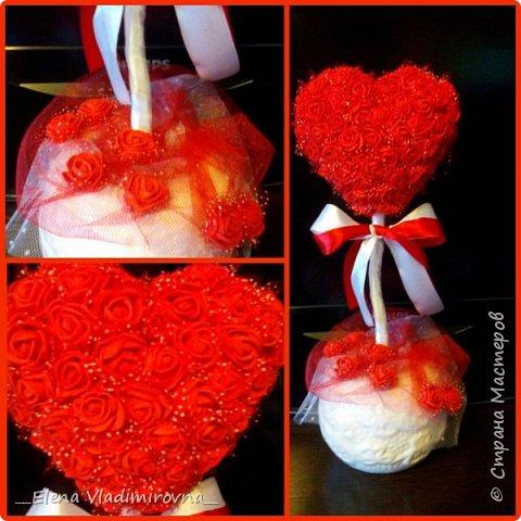 Сердце из роз. Топиарий. Подарок фото 5