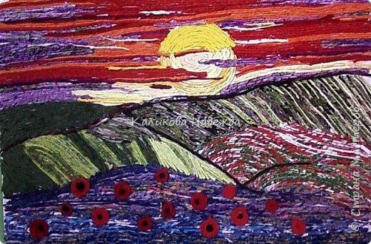 """Накопилось много работ в этой технике. Детям нравится создавать картины из жгутиков. Результаты работ меня тоже очень радуют)) Петрова Ксюша (10 лет) """"Прощальный привет от лета"""" фото 4"""