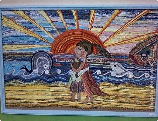 """Накопилось много работ в этой технике. Детям нравится создавать картины из жгутиков. Результаты работ меня тоже очень радуют)) Петрова Ксюша (10 лет) """"Прощальный привет от лета"""" фото 11"""