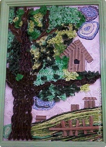 """Накопилось много работ в этой технике. Детям нравится создавать картины из жгутиков. Результаты работ меня тоже очень радуют)) Петрова Ксюша (10 лет) """"Прощальный привет от лета"""" фото 12"""
