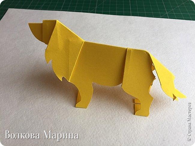Каждый год я делаю новогодние открыточки. Так как 2018 год - это год Жёлтой Земляной Собаки. Поэтому я сделала открыточку с собачкой. Схемку я придумала сама. Вот такая она у меня получилась: фото 13
