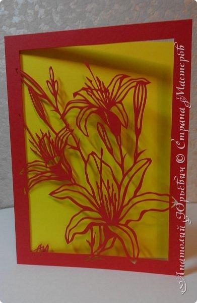 """Всем добрый день! Новая открытка с лилиями. Рисунок для эскиза взят из интернета, изменён и доработан под """"вырезалку"""". Размер 12х16см. фото 17"""