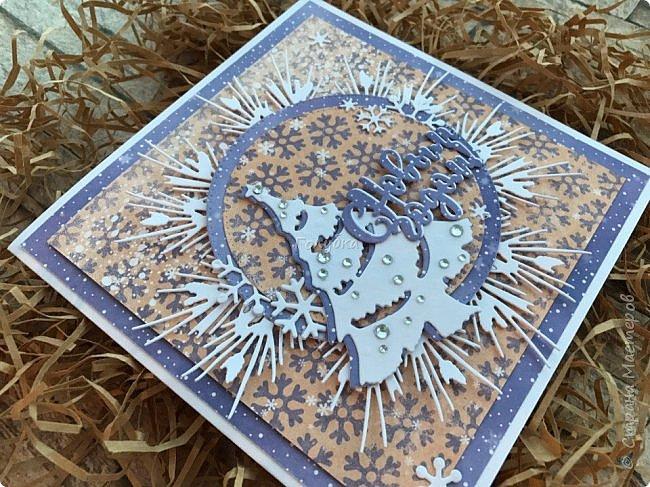 Все, в этом году это крайние новогодние открытки.  Первая выполнена по просьбе обязательно в двух цветах, но я позволила себе добавить велум от примы серебристый и листочки из пленки для шейкеров. Открытка не маленькая,  тк кармашек для сертификата нужен был. фото 9