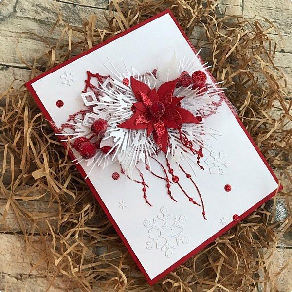 Все, в этом году это крайние новогодние открытки.  Первая выполнена по просьбе обязательно в двух цветах, но я позволила себе добавить велум от примы серебристый и листочки из пленки для шейкеров. Открытка не маленькая,  тк кармашек для сертификата нужен был. фото 5