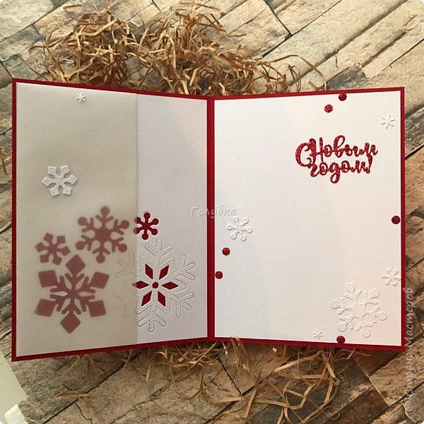 Все, в этом году это крайние новогодние открытки.  Первая выполнена по просьбе обязательно в двух цветах, но я позволила себе добавить велум от примы серебристый и листочки из пленки для шейкеров. Открытка не маленькая,  тк кармашек для сертификата нужен был. фото 3