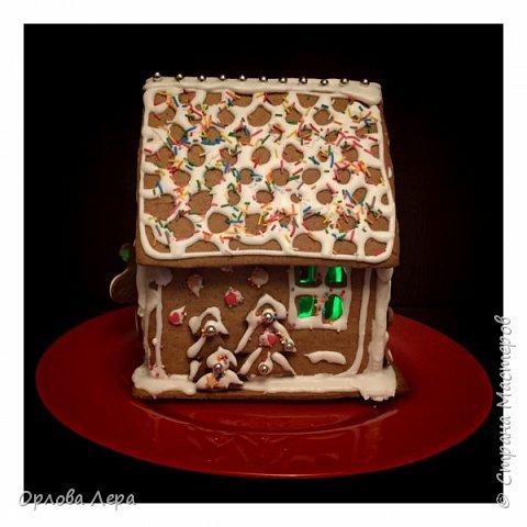 Такой сказочный домик может стать замечательным подарком на Новый год или на Рождество. И будет украшением любого праздничного стола.  Это второй домик в моей жизни. Первый я делала в прошлом году из имбирных пряников, но вкус меня разочаровал. Поэтому в этом году я решила заменить имбирные пряники на свои любимые имбирные печеньки:) Итак, вот отличный рецепт  Для такого домика нам потребуется: 100 гр очень мягкого сливочного масла (лучше использовать 82,5% жирности) 1 яйцо 200 гр муки 3 ч.л. меда 110 гр сахара 1,5 ч.л. пищевой соды (без горки) 2 ч.л. молотого имбиря 1 ч.л. молотого кардамона 1 ч.л. корицы (я очень люблю корицу, поэтому добавляла 3 ч.л.) Ход работы: 1. Растопить мёд на водяной бане или поставить в микроволновку на 15-20 секунд, чтобы он стал прозрачным и жидким. 2. Размять в миске сливочное масло и сахар, затем хорошенько перемешать миксером.  3. Добавить в смесь масла и сахара одно яйцо и растопленный мёд. Ещё раз перемешать миксером. 4. В отдельной миске смешать муку, соду и специи. Важно очень хорошо перемешать (можно просеять через сито) чтобы специи равномерно распределись. 5. Высыпать муку со специями в миску с масляной смесью и замесить тесто.  6. Если получается слишком жидким добавить ещё немного муки. 7. Затем оставить его в холодильнике часа на полтора что немного подмёрзло.   фото 12