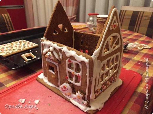 Такой сказочный домик может стать замечательным подарком на Новый год или на Рождество. И будет украшением любого праздничного стола.  Это второй домик в моей жизни. Первый я делала в прошлом году из имбирных пряников, но вкус меня разочаровал. Поэтому в этом году я решила заменить имбирные пряники на свои любимые имбирные печеньки:) Итак, вот отличный рецепт  Для такого домика нам потребуется: 100 гр очень мягкого сливочного масла (лучше использовать 82,5% жирности) 1 яйцо 200 гр муки 3 ч.л. меда 110 гр сахара 1,5 ч.л. пищевой соды (без горки) 2 ч.л. молотого имбиря 1 ч.л. молотого кардамона 1 ч.л. корицы (я очень люблю корицу, поэтому добавляла 3 ч.л.) Ход работы: 1. Растопить мёд на водяной бане или поставить в микроволновку на 15-20 секунд, чтобы он стал прозрачным и жидким. 2. Размять в миске сливочное масло и сахар, затем хорошенько перемешать миксером.  3. Добавить в смесь масла и сахара одно яйцо и растопленный мёд. Ещё раз перемешать миксером. 4. В отдельной миске смешать муку, соду и специи. Важно очень хорошо перемешать (можно просеять через сито) чтобы специи равномерно распределись. 5. Высыпать муку со специями в миску с масляной смесью и замесить тесто.  6. Если получается слишком жидким добавить ещё немного муки. 7. Затем оставить его в холодильнике часа на полтора что немного подмёрзло.   фото 5