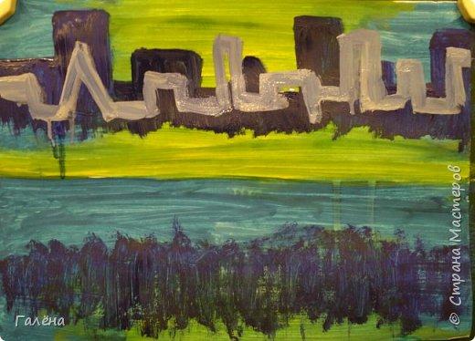 Предлагаю начинающим юным художникам попробовать свои силы в написании городского пейзажа.Для рисования нам понадобится бумага формата А-3,гуашь 12 цветов,толстая кисть плоская щетина номер 12 . фото 8