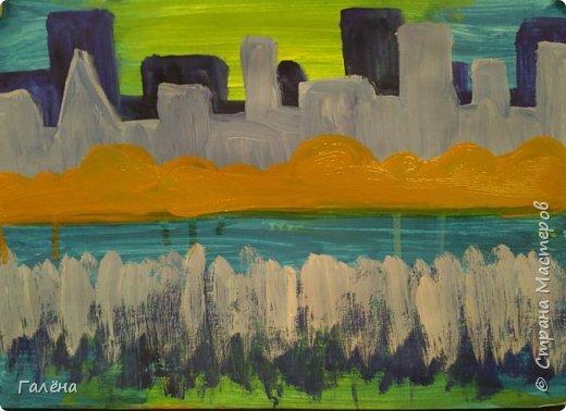 Предлагаю начинающим юным художникам попробовать свои силы в написании городского пейзажа.Для рисования нам понадобится бумага формата А-3,гуашь 12 цветов,толстая кисть плоская щетина номер 12 . фото 10