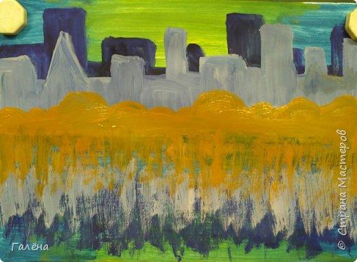 Предлагаю начинающим юным художникам попробовать свои силы в написании городского пейзажа.Для рисования нам понадобится бумага формата А-3,гуашь 12 цветов,толстая кисть плоская щетина номер 12 . фото 11