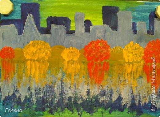 Предлагаю начинающим юным художникам попробовать свои силы в написании городского пейзажа.Для рисования нам понадобится бумага формата А-3,гуашь 12 цветов,толстая кисть плоская щетина номер 12 . фото 13